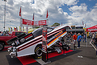 May 30, 2014; Englishtown, NJ, USA; NHRA display funny car in the Toyota display during qualifying for the Summernationals at Raceway Park. Mandatory Credit: Mark J. Rebilas-
