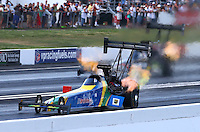 Jun. 1, 2013; Englishtown, NJ, USA: NHRA top fuel dragster driver Sidnei Frigo during qualifying for the Summer Nationals at Raceway Park. Mandatory Credit: Mark J. Rebilas-