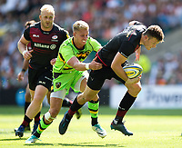 Duncan Taylor of Saracens takes on the Northampton Saints defence. Aviva Premiership match, between Saracens and Northampton Saints on September 2, 2017 at Twickenham Stadium in London, England. Photo by: Patrick Khachfe / JMP