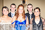 SMILES: Smiles all around at the Listowel Debs, in The Abbey Gate Hotel, Tralee on Saturday night. l-r: Sarah Reidy (Listowel), Michael McEllistrim (Ballylongford), Georgina O'Callaghan, Alan Mulcahy and Shauna Finnegan (Listowel).......................... ..............................   Copyright Kerry's Eye 2008
