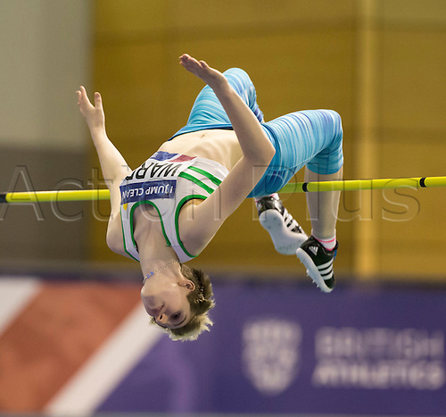 27.02.2016. EIS Sheffield, Sheffield, England. British Indoor Athletics Championships Day One. Abby Ward (Wakefield AC) competes in the Women's High Jump.