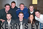 Party: Making the most of the night at his 21st birthday in The Soda Club, Killorglin, was Owen OMahony (seated centre), along with friends. Front l-r: John Falvey, Owen OMahony and Lisa OMahony. Back l-r: Neil OMahony, Luke Dunlee, Fabien Jegouzo, John OKeeffe and Dan OShea..