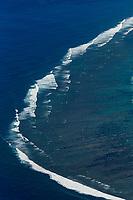 France, île de la Réunion, côte ouest, Saint-Paul, la plage du lagon de la Saline-les-Bains, vue aérienne /// France, Ile de la Reunion (French overseas department), West coast,  Saint Paul, beach of Saline les Bains lagoon , aerial view