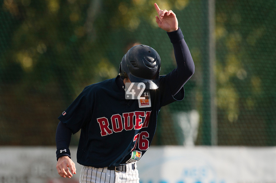 16 October 2010: Joris Bert of Rouen celebrates during Rouen 16-4 win over Savigny, during game 1 of the French championship finals, in Savigny sur Orge, France.