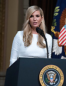 First Daughter and Advisor to the President Ivanka Trump makes introductory remarks prior to the arrival of United States President Donald J. Trump who will make remarks at the Interagency Task Force to Monitor and Combat Trafficking in Persons annual meeting in the Indian Treaty Room of the White House in Washington, DC on Thursday, October 11, 2018.<br /> Credit: Ron Sachs / CNP