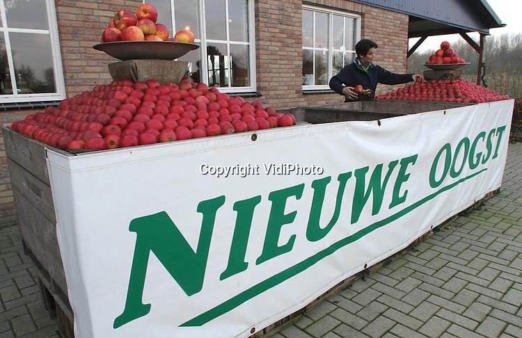 Foto: VidiPhoto..AFFERDEN - Christel van der Zandt van landwinkel De Zandroos uit Afferden bij Nijmegen werkt donderdag haar appelkunstwerk bij. De twee appelpiramides voor de landwinkel moeten klanten de winkel in lokken. Niet iedereen beseft echter dat het een 'kunstwerk' is. Regelmatig verdwijnt er daarom een appeltje en moet de eigenaresse van de landwinkel haar fruitmozaïk weer bijwerken.
