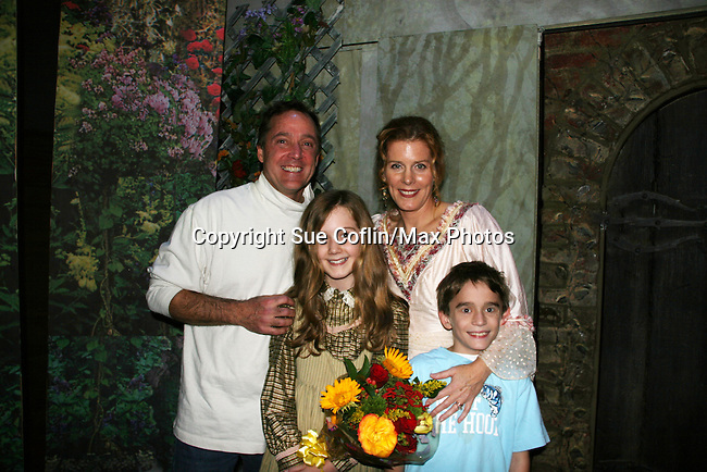 """Liz Keifer & family - hubby Bobby Convertino - daughter Isabella - son Keifer as Philipstown Depot Theatre presents The Secret Garden on November 15, 2009 in Garrison, New York. The musical The Secret Garden is the story of """"Mary Lennox"""", a rich spoiled child who finds herself suddenly an orphan when cholera wipes out the entire Indian village where she was living with her parents. She is sent to live in England with her only surviving relative, an uncle who has lived an unhappy life since the death of his wife 10 years ago. """"Archibald's son Colin"""", has been ignored by his father who sees Colin only as the cause of his wife's death.This is essentially the story of three lost, unhappy souls who, together, learn how to live again while bringing Colin's mother's garden back to life. (Photo by Sue Coflin/Max Photos)........"""
