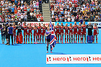 The teams line up during the Women's Champions Trophy match between  at Lee Valley Hockey Centre, Olympic Park, England on 19 June 2016. Photo by Steve McCarthy / PRiME Media Images.