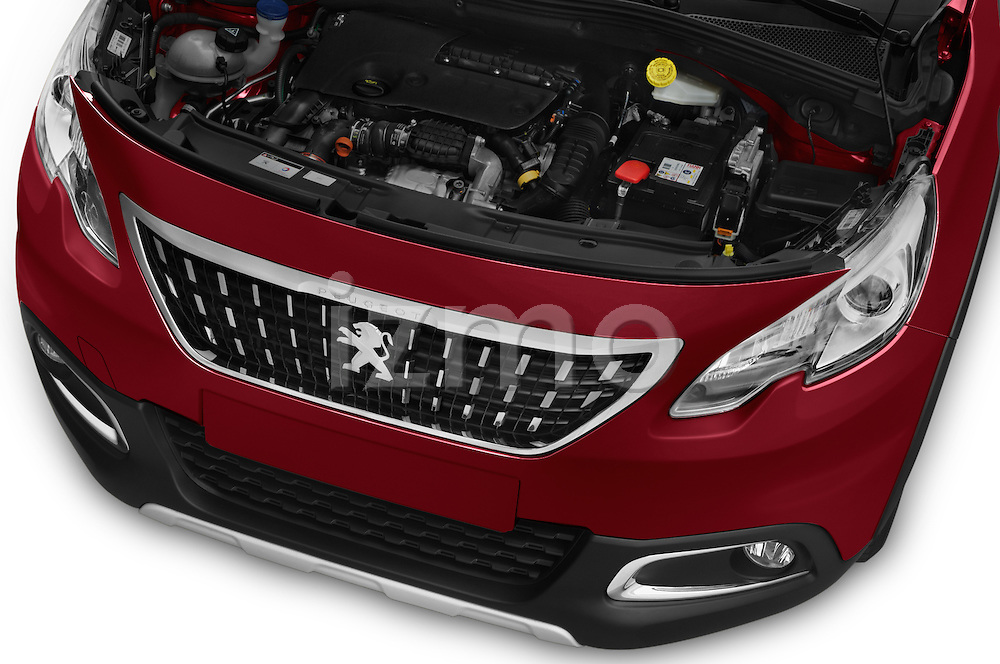 Car Stock 2016 Peugeot 2008 Allure 5 Door SUV Engine  high angle detail view