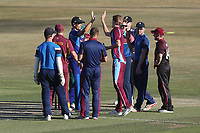 The Premier Leagues XI celebrate the wicket of Adam Wheater during Essex Eagles vs Premier Leagues XI, Friendly Match Cricket at The Cloudfm County Ground on 2nd July 2018