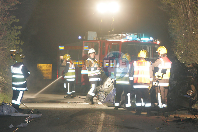 The scene of the Fatal accident outside Dunleer co Louth. Fire Service Units from Drogheda and Dunleer attended the scene. the occupant of the vehicle seamed to be ejected from the vehicle and was found on the ground closed to the upturned vehicle..Photo: Fran Caffrey/ Newsfile.