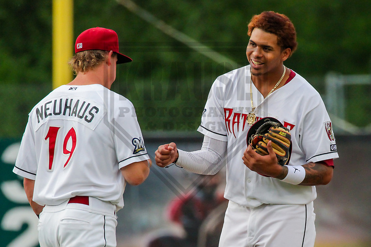 Wisconsin Timber Rattlers second baseman Tucker Neuhaus (19) and shortstop Gilbert Lara (11) during a Midwest League game against the Quad Cities River Bandits on June 8, 2017 at Fox Cities Stadium in Appleton, Wisconsin.  Wisconsin defeated Quad Cities 8-3. (Brad Krause/Krause Sports Photography)
