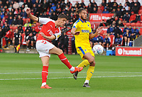 Fleetwood Town's Harrison Biggins under pressure from AFC Wimbledon's Nesta Guinness-Walker<br /> <br /> Photographer Kevin Barnes/CameraSport<br /> <br /> The EFL Sky Bet Championship - Fleetwood Town v AFC Wimbledon - Saturday 10th August 2019 - Highbury Stadium - Fleetwood<br /> <br /> World Copyright © 2019 CameraSport. All rights reserved. 43 Linden Ave. Countesthorpe. Leicester. England. LE8 5PG - Tel: +44 (0) 116 277 4147 - admin@camerasport.com - www.camerasport.com