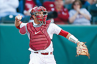 OU Catcher Tyler Ogle (35) throws to 2nd during pitcher warm ups in the NCAA matchup between the University of Arkansas-Little Rock Trojans and the University of Oklahoma Sooners at L. Dale Mitchell Park in Norman, Oklahoma; March 11th, 2011.  Oklahoma won 11-3.  Photo by William Purnell/Four Seam Images