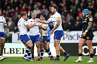 Matt Banahan of Bath Rugby celebrates his try with team-mates. Aviva Premiership match, between Exeter Chiefs and Bath Rugby on December 2, 2017 at Sandy Park in Exeter, England. Photo by: Patrick Khachfe / Onside Images
