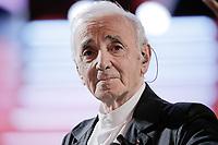 Charles Aznavour durant l'enregistrement du programme télé de divertissement 'Hier Encore', 4ème enregistrement, ayant pour parrain d'honneur Charles Aznavour, à l'Olympia Bruno Coquatrix, à Paris, le 8 janvier 2014, France, Europe.<br /> © ALLAMAN/ DALLE