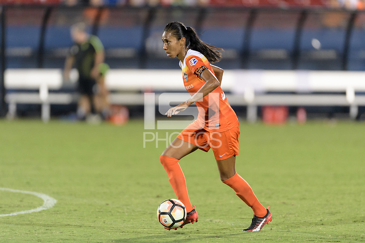 Frisco, TX - Sunday September 03, 2017: Bruna Benites during a regular season National Women's Soccer League (NWSL) match between the Houston Dash and the Seattle Reign FC at Toyota Stadium in Frisco Texas. The match was moved to Toyota Stadium in Frisco Texas due to Hurricane Harvey hitting Houston Texas.