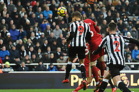 Dwight Gayle of Newcastle United has a goal ruled out for offside during Newcastle United vs Swansea City, Premier League Football at St. James' Park on 13th January 2018