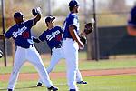 (L-R) Lisalverto Bonilla, Kenta Maeda (Dodgers),<br /> FEBRUARY 20, 2016 - MLB :<br /> Los Angeles Dodgers spring training baseball camp in Glendale, Arizona, United States. (Photo by AFLO)