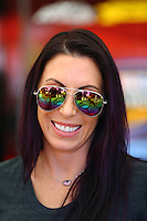 Jul 29, 2016; Sonoma, CA, USA; NHRA funny car driver Alexis DeJoria during qualifying for the Sonoma Nationals at Sonoma Raceway. Mandatory Credit: Mark J. Rebilas-USA TODAY Sports