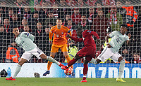Liverpool's Naby Keita shoots despite the attentions of Bayern Munich's Thiago Alcantara (left) and David Alaba<br /> <br /> Photographer Rich Linley/CameraSport<br /> <br /> UEFA Champions League Round of 16 First Leg - Liverpool and Bayern Munich - Tuesday 19th February 2019 - Anfield - Liverpool<br />  <br /> World Copyright © 2018 CameraSport. All rights reserved. 43 Linden Ave. Countesthorpe. Leicester. England. LE8 5PG - Tel: +44 (0) 116 277 4147 - admin@camerasport.com - www.camerasport.com