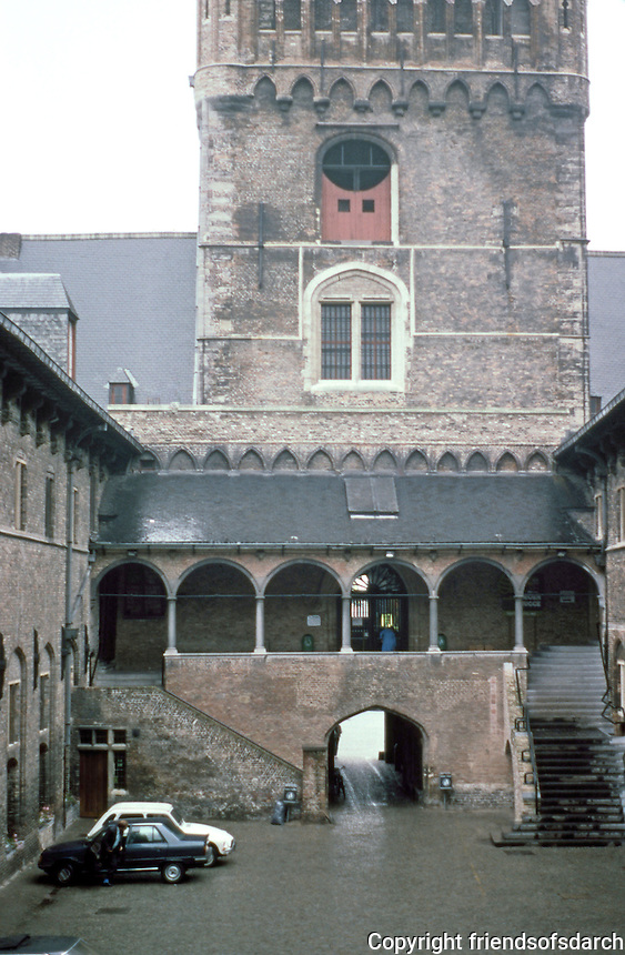 Bruges: The Halles Courtyard behind Belfry.  Photo '87.