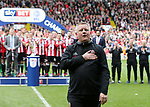 Sheffield United's Chris Wilder celebrates at the final whistle during the League One match at Bramall Lane, Sheffield. Picture date: April 30th, 2017. Pic David Klein/Sportimage