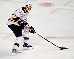 22 November 2008: Boston Bruins' defenseman and Team Captain Zdeno Chara in action against the Montreal Canadiens at the Bell Centre in Montreal, Quebec, Canada.  After a 2-2 regulation tie and a non-scoring 5-minute overtime period, the Boston Bruins scored the lone shootout goal thus defeating the Canadiens 3-2. The Canadiens, celebrating their 100th season, honored former Montreal goaltender Patrick Roy, and retired his jersey (Number 33) during pre-game ceremonies. ***** Editorial Use Only *****..Mandatory Photo Credit: Ed Wolfstein Photo *** Editorial Sales through Icon Sports Media *** www.iconsportsmedia.com