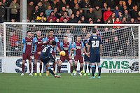 Nicky Ajose of Crewe A takes a free kick<br />  - Scunthorpe United vs Crewe Alexandra - Sky Bet League One Football at Glanford Park, Scunthorpe, Lincolnshire - 13/12/14 - MANDATORY CREDIT: Mark Hodsman/TGSPHOTO - Self billing applies where appropriate - contact@tgsphoto.co.uk - NO UNPAID USE