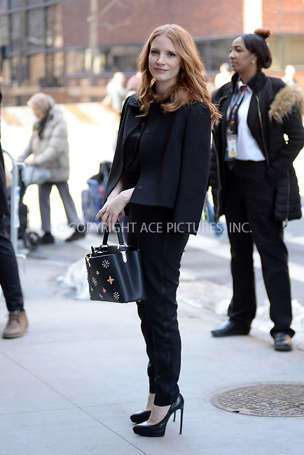 WWW.ACEPIXS.COM<br /> March 21, 2017 New York City<br /> <br /> Jessica Chastain at AOL Build Speaker Series on March 21, 2017 in New York City.<br /> <br /> Credit: Kristin Callahan/ACE Pictures<br /> <br /> Tel: 646 769 0430<br /> Email: info@acepixs.com