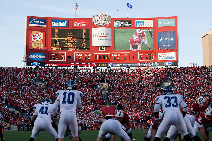 A general view of the Camp Randall Stadium scoreboard during the Wisconsin Badgers NCAA college football game against the Northwestern Wildcats on November 27, 2010 at Camp Randall Stadium in Madison, Wisconsin. The Badgers won 70-23. (Photo by David Stluka)