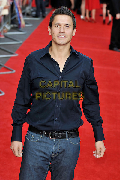 "Jeremy Edwards.""The Inbetweeners Movie"" UK premiere, Vue West End cinema, Leicester Square, London, England..August 16th, 2011.half length shirt blue.CAP/MAR.© Martin Harris/Capital Pictures."