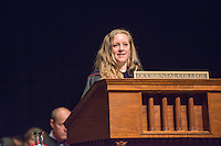 Lisa Wade, Associate Professor, Sociology receives the Linda and Tod White Teaching Prize. Incoming first-years start the year at Occidental College's 127th annual Convocation ceremony on Aug. 28, 2013 in Thorne Hall.<br /> (Photo by Marc Campos, Occidental College Photographer)