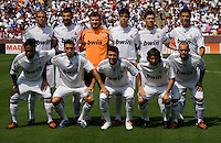 Real Madrid lines up before their friendly at FedEx Field in Landover, Maryland.  Real Madrid defeated DC United, 3-0.