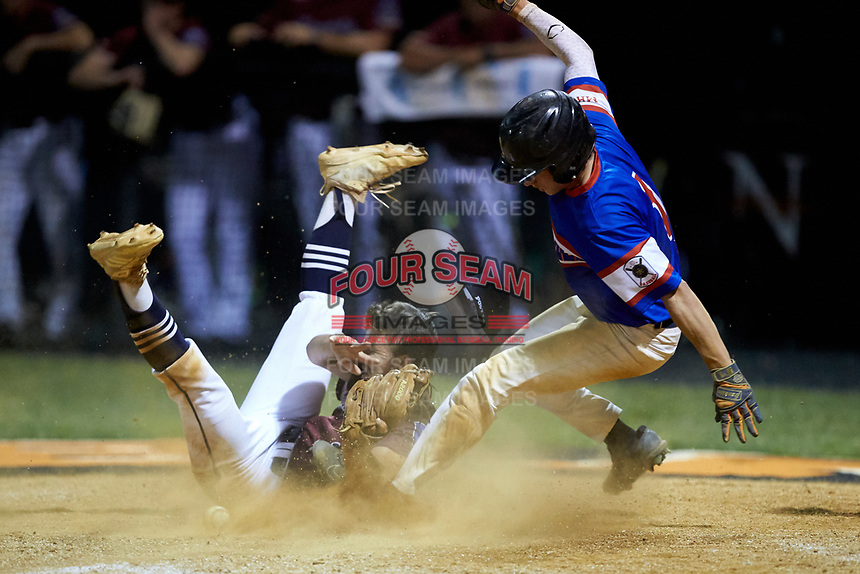 Trent Little (1) of Mooresville Post 66 slides into home plate as Kannapolis Post 115 pitcher Matt Moore (1) can't hold on to the ball during an American Legion baseball game at Northwest Cabarrus High School on May 30, 2019 in Concord, North Carolina. Mooresville Post 66 defeated Kannapolis Post 115 4-3. (Brian Westerholt/Four Seam Images)