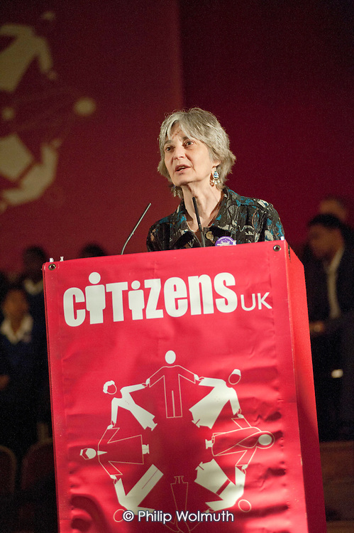 "Deborah Littman, of trade union Unison, addresses a ""Day for Civil Society"" organized by Citizens UK / London Citizens to celebrate 10 years of the Living Wage Campaign, launch a National Living Wage Foundation and call for the living wage to be adopted nationally.  Central Hall, Westminster."