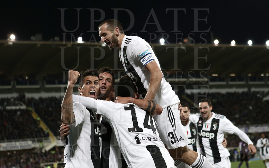 Calcio, Serie A: Fiorentina - Juventus, stadio Artemio Franchi Firenze 1 dicembre 2018.<br /> Juventus' Rodrigo Bentancur celebrates after scoring with his teammates during the Italian Serie A football match between Fiorentina and Juventus at Florence's Artemio Franchi stadium, December 1, 2018.<br /> UPDATE IMAGES PRESS/Isabella Bonotto