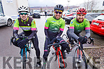 Kieran Moloney,  John Butler and James Hanrahan ready for road at the Lacey Cup cycling on Sunday.