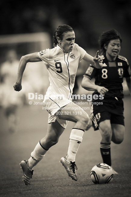 FRANKFURT, GERMANY - JULY 17:  Heather O'Reilly of the United States drives the ball during the FIFA Women's World Cup final against Japan July 17, 2011 at FIFA Women's World Cup Stadium in Frankfurt, Germany. Editorial use only.  No push to mobile device usage.  Commercial use prohibited.  Editor's note:  image color digitally desaturated.  (Photograph by Jonathan Paul Larsen)