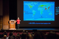 """The Occidental College Core Program hosts the third CSP Lecture of the year, Sandra Postel, as she presents her lecture, """"Our Freshwater Future: Adapting to a Water Stressed Word."""" Monday, November 11, 2013 in Thorne Hall.<br /> Postel directs the independent Global Water Policy Project, and lectures, writes and consults on global water issues. In 2010 she was appointed Freshwater Fellow of the National Geographic Society, where she serves as lead water expert for the Society's freshwater efforts.  Postel is co-creator of Change the Course, the national freshwater conservation and restoration campaign. A leading authority and prolific author on international water issues, she has written more than 100 articles for popular and scholarly publications and is the author of several books. (Photo by Marc Campos, Occidental College Photographer)"""