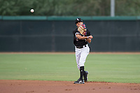 AZL White Sox second baseman Kevin Maldonado (5) makes a throw to first base during an Arizona League game against the AZL Mariners at Camelback Ranch on July 8, 2018 in Glendale, Arizona. The AZL White Sox defeated the AZL Mariners 8-5. (Zachary Lucy/Four Seam Images)