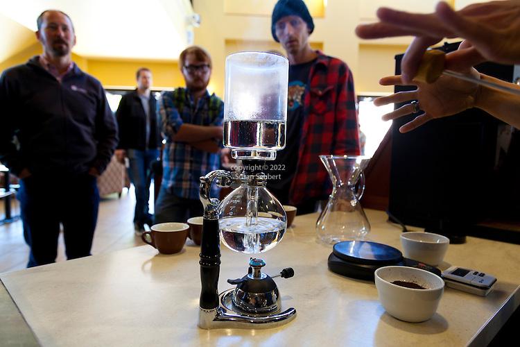 Broadway Coffeehouse in Salem, Oregon.  The public coffee tasting.