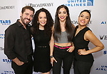 Ana Villafane with the cast of 'On Your Feet' backstage at United Airlines Presents #StarsInTheAlley free outdoor concert in Shubert Alley on 6/2/2017 in New York City.