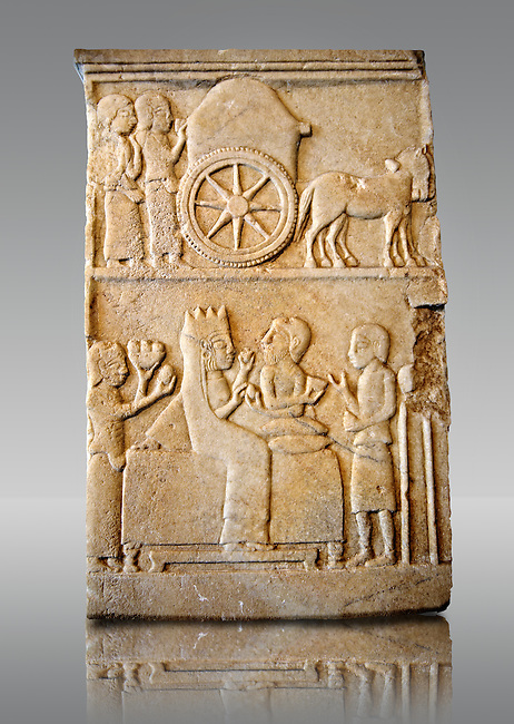 Marble Anatolian Persian Funerary Stele, 5th cent. B.C, from Dascyleium ( Ergili, Manyas ) Turkey.  Istanbul Archaeological museum Inv 5763 T.