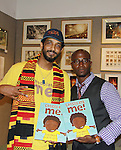 Taye Diggs (Guiding Light, Private Practice, Rent) is the author of Chocolate Me! and Shane W. Evans (illustrator of the book) join together is a launch party to celebrate their first picture book together on September 28, 2011 at Books of Wonder, New York City, New York. Taye read the book to the audience and was accompanied by Shane W. Evans on his guitar which was followed by Shane singing about the book.  (Photo by Sue Coflin/Max Photos)