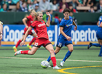 Seattle, WA - Saturday Aug. 27, 2016: Allie Long, Keelin Winters during a regular season National Women's Soccer League (NWSL) match between the Seattle Reign FC and the Portland Thorns FC at Memorial Stadium.