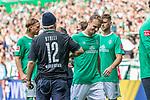 """01.09.2019, wohninvest WESERSTADION, Bremen, GER, 1.FBL, Werder Bremen vs FC Augsburg<br /> <br /> DFL REGULATIONS PROHIBIT ANY USE OF PHOTOGRAPHS AS IMAGE SEQUENCES AND/OR QUASI-VIDEO.<br /> <br /> im Bild / picture shows<br /> Christian Groß / Gross (Werder Bremen #36) klatscht mit Christian """"Stolli"""" Stoll (Stadionsprecher Werder Bremen) nach Spielende ab, <br /> <br /> Foto © nordphoto / Ewert"""