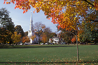 Lexington, Massachusetts, The white church stands on the Green in the fall.