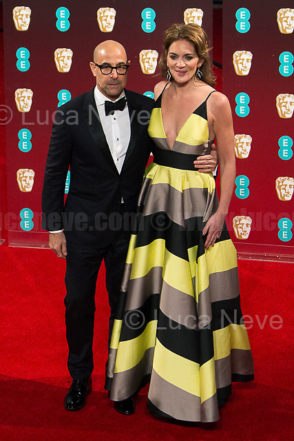 Stanley Tucci & Felicity Blunt (Literary agent & Stanley Tucci wife). <br /> <br /> London, 12/02/2017. Red Carpet of the 2017 EE BAFTA (British Academy of Film and Television Arts) Awards Ceremony, held at the Royal Albert Hall in London.<br /> <br /> For more information please click here: http://www.bafta.org/