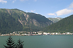 Alaska, Juneau: View of Juneau from Homestead Park in Douglas. .Photo #: alaska10102 .Photo copyright Lee Foster, 510/549-2202, lee@fostertravel.com, www.fostertravel.com.